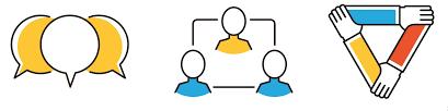 تصویری گرافیکی از سه دست که آرنج هم را گرفتهاند و یک مثلث تشکیل دادهاند و سه شخص که دو نفر در یک سطح و یک نفر بالا تر آن دو و سه کامنت که کامنت وسطی رنگ متفاوتی دارد.