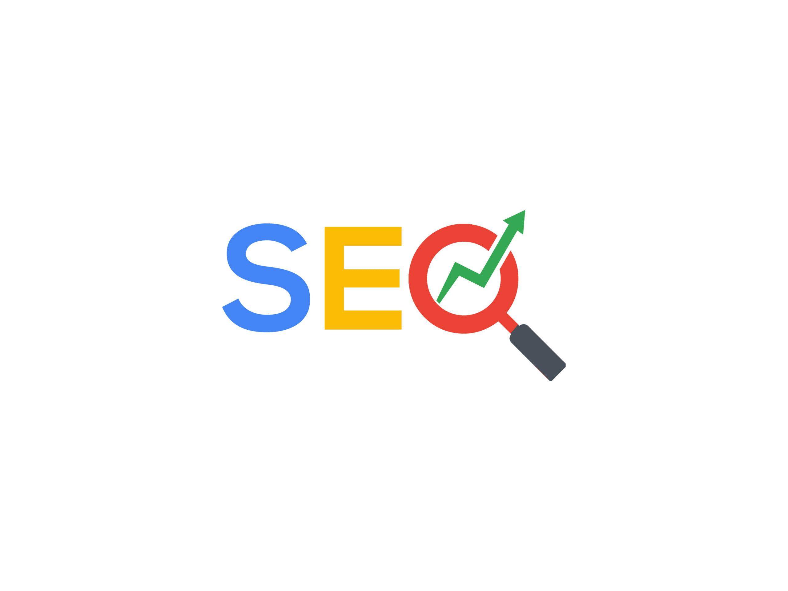 تصویر لوگو SEO با رنگهای لوگوی گوگل که حرف O به شکل زرهبین نمایش داده شده و یک فلش از وسط زرهبین بیرون آمده به سمت بالا که تداعی کننده بهبود و افزایش رتبه است