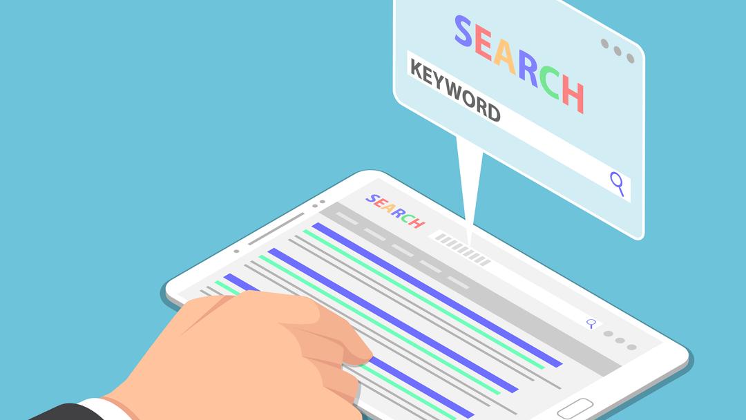 تصویری گرافیکی از یک صفحه نمایش لمسی و یک درست که درحال تایپ کردن کلمه keyword در یک مرورگر است.